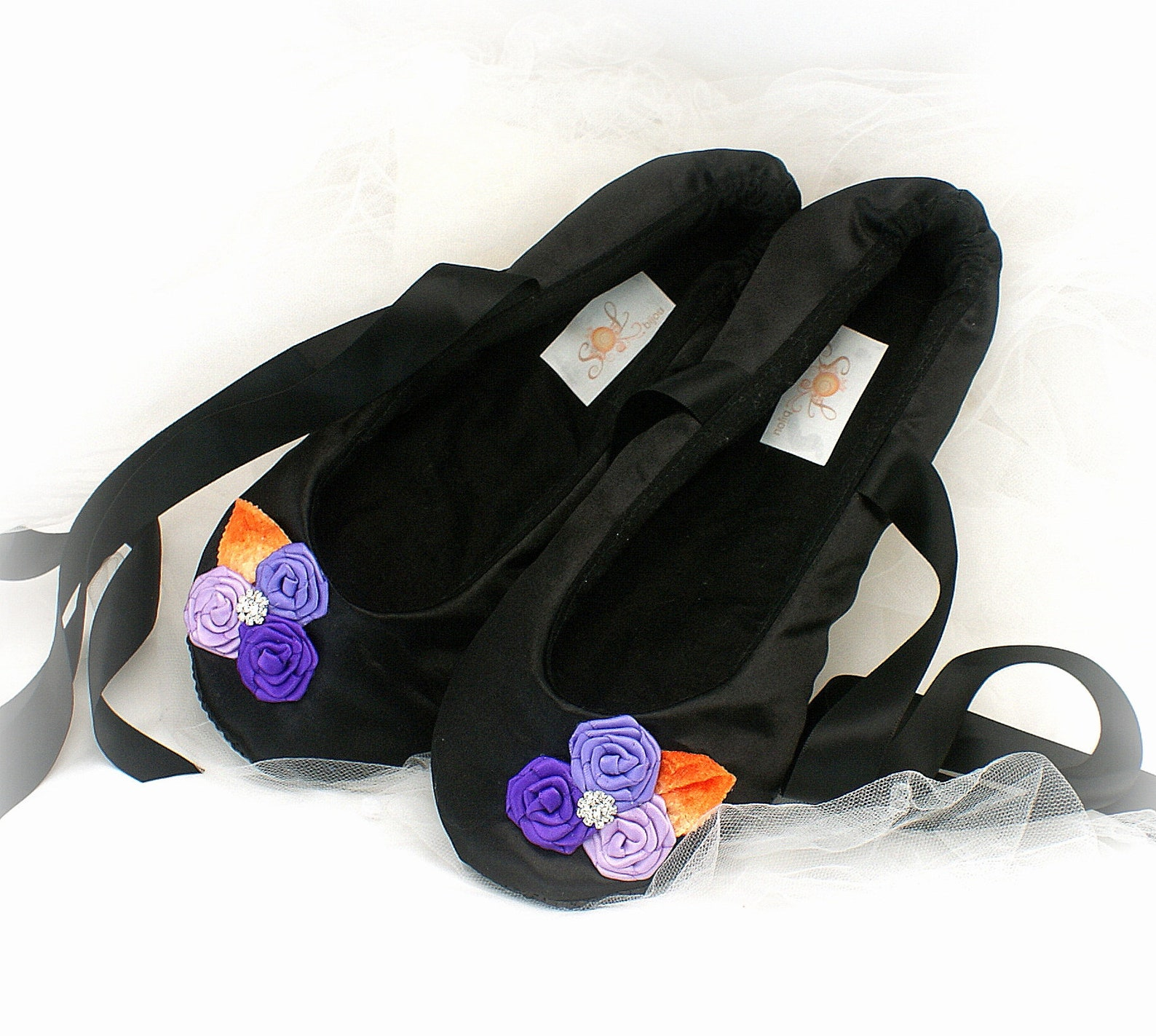 wedding ballet slippers satin bridal shoes black purple orange custom unique flats