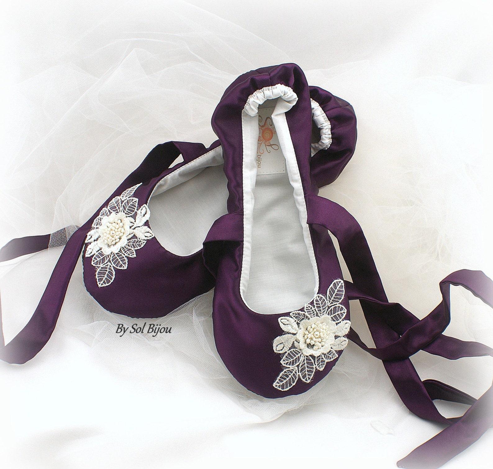 Purple Wedding Ballet Slippers Plum Ballet Shoes With Ties