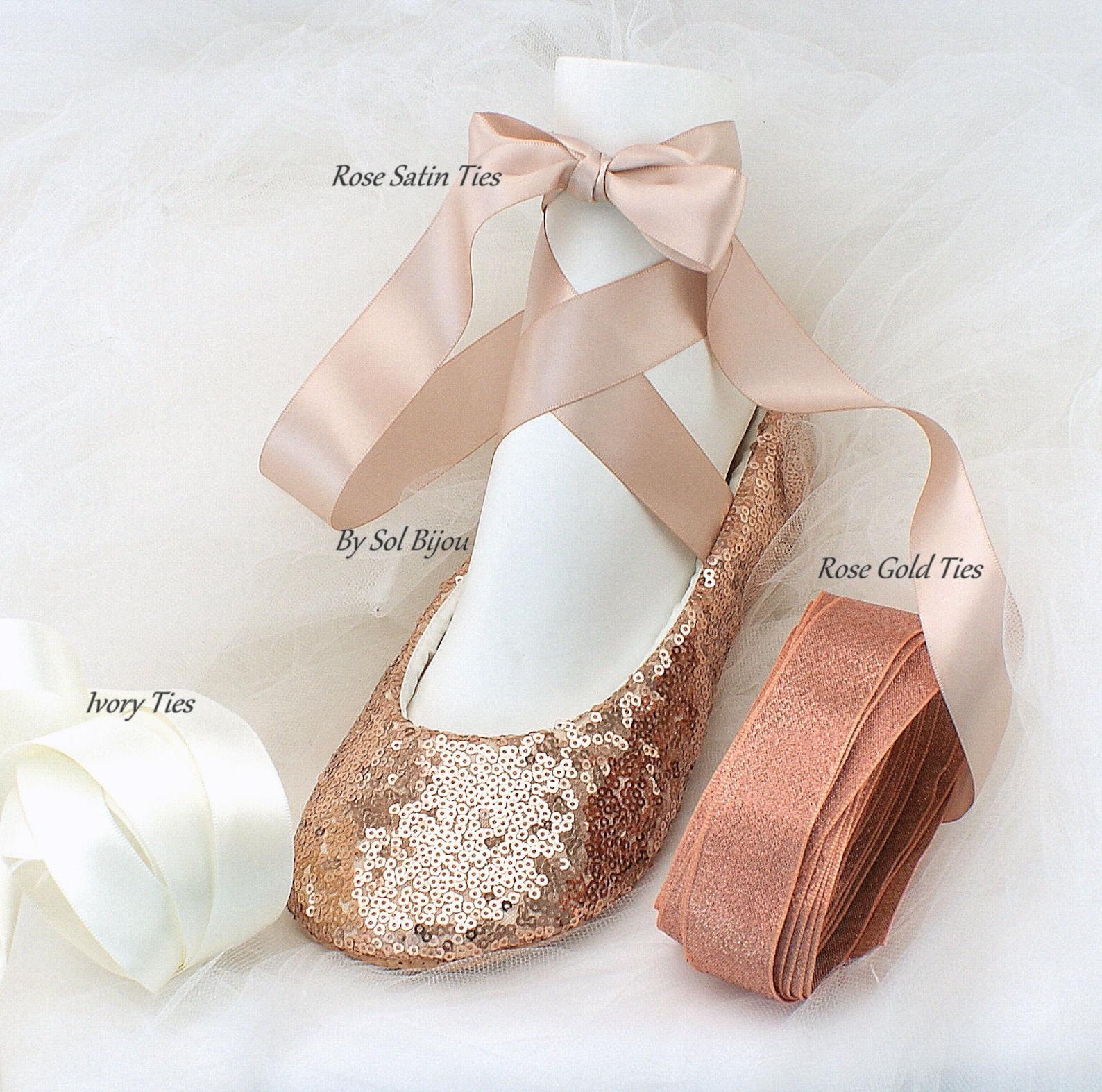 rose gold sequin shoes for brides elegant wedding ballet slippers wide fit