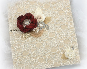 Photo Album,Ivory,Champagne,Tan, Burgundy,Red Wine,Wedding Photo Album,Lace Album,Vintage Style,Elegant,Anniversary,Birthday,Pearls