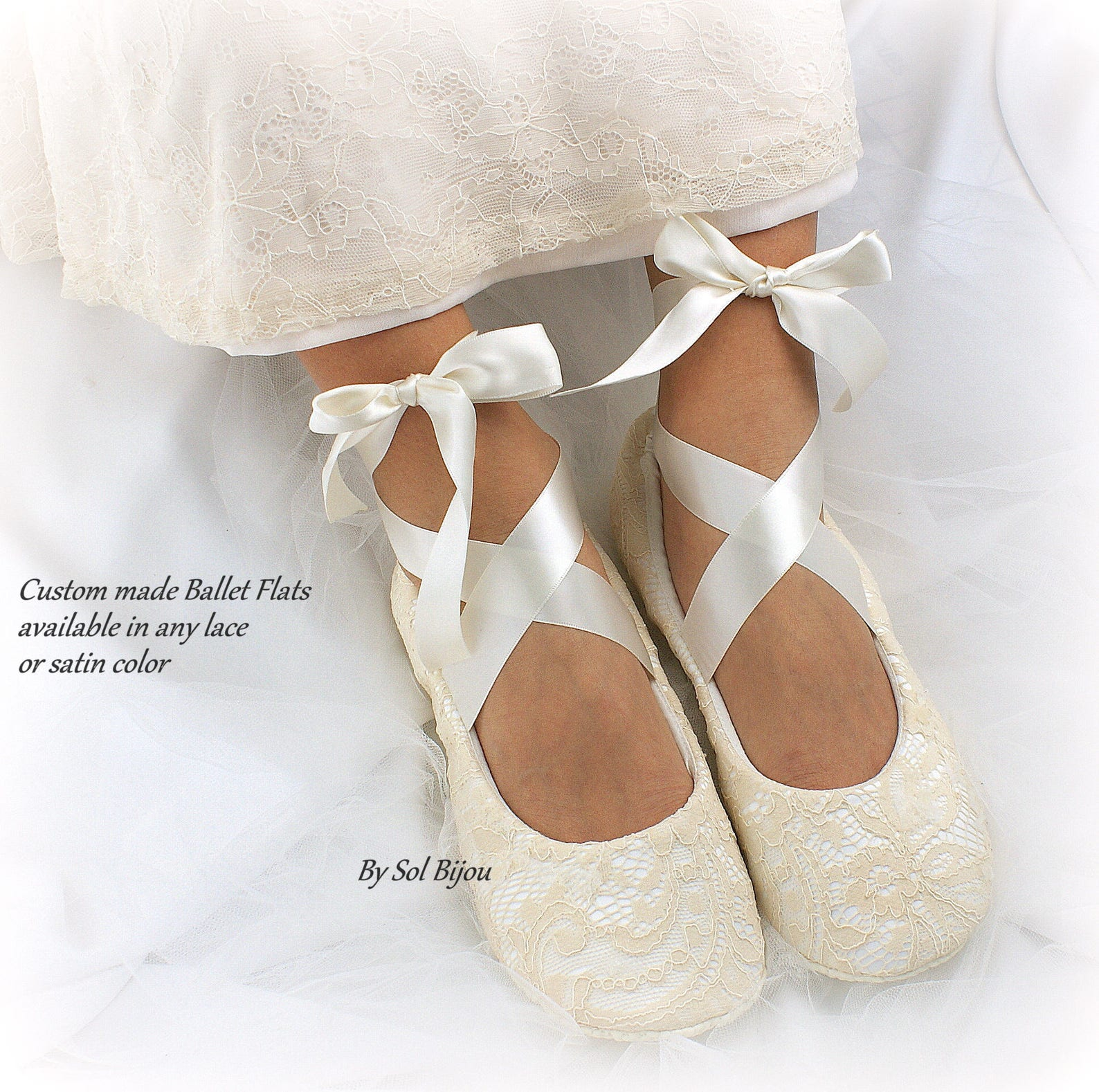 wedding ballet flats shoes in champagne lace custom ballet slippers for brides