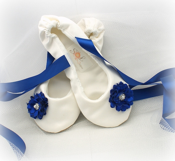 Ivory and Royal Blue Bridal Satin Flats Ballet Flats with  e3bd77386ce2