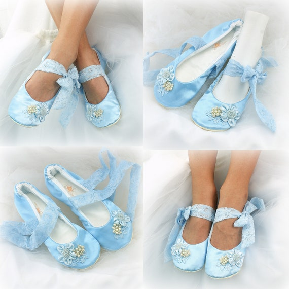 Wedding Ballet Shoes in Blue Satin with Lace Side Ties and Pearls Vintage Style