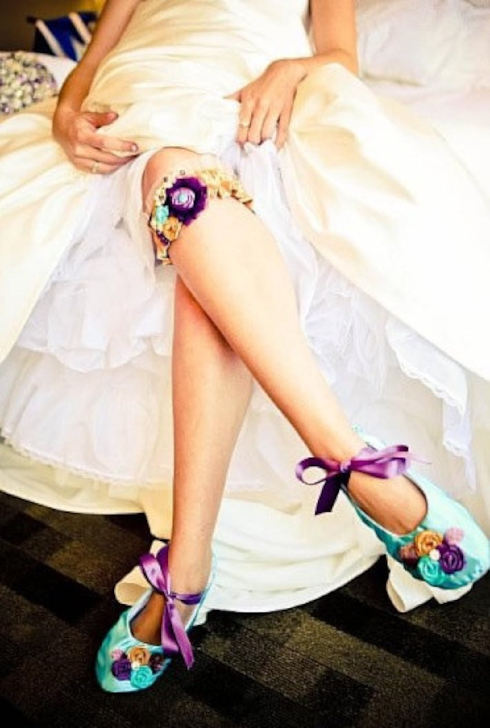 wedding flats ballet lace up flats turquoise purple gold,custom order