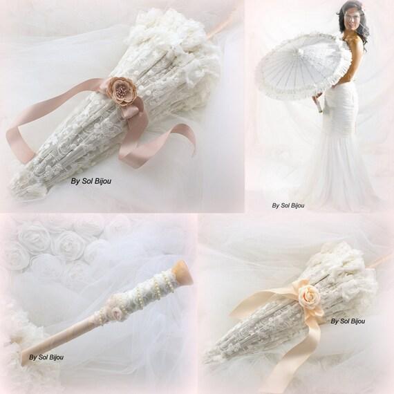 Wedding Parasol, Sun Umbrella, Ivory, Rose, Rose Quartz, Blush, Lace Parasol, Vintage Style, Elegant Wedding, Photo Prop, Lace Umbrella,