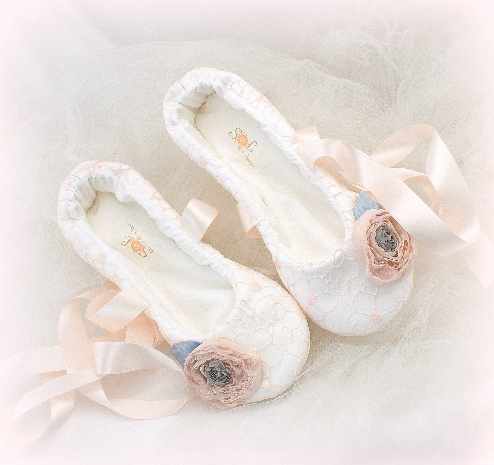 wedding ballet shoes blush ivory and blue wedding slippers with flowers custom ballet shoes ivory wedding flats shoes