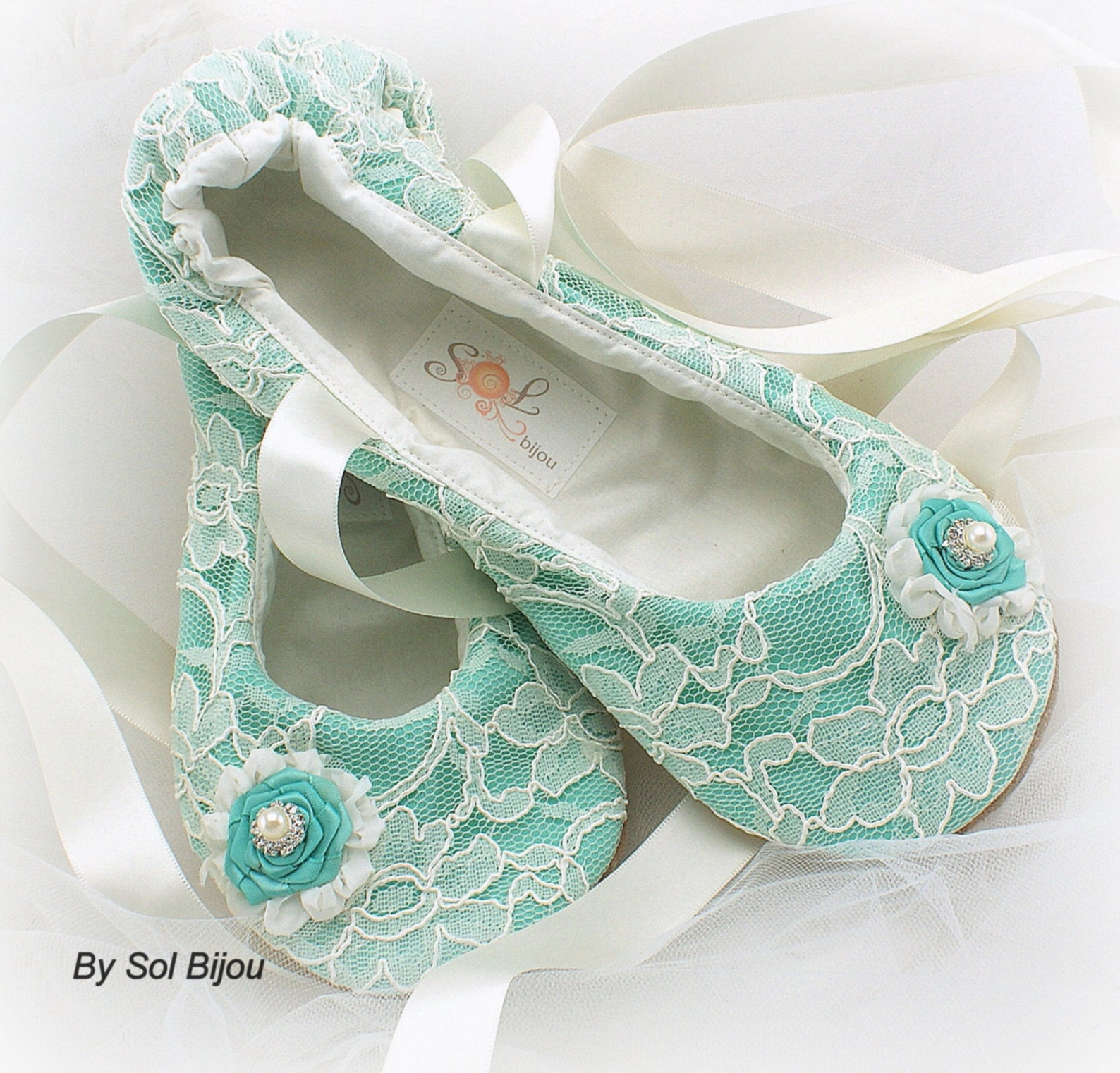 tea with tiffany turquoise wedding bridal ballet flats, lace aqua blue ballet slippers with ivory satin ties