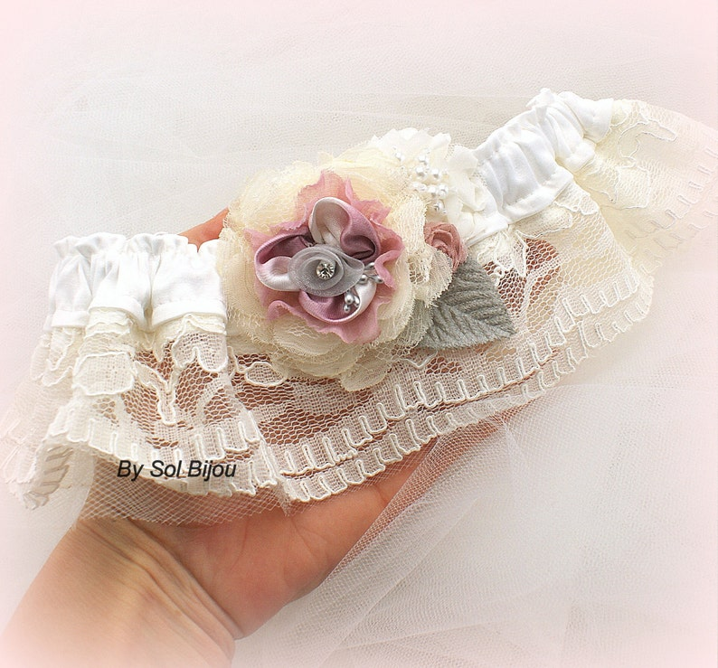 Ivory Dusty Rose Bridal Belt Wedding Vintage Pearls Handmade Flowers Lace Gray Toss Elegant Wedding Garter