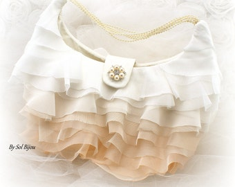 Purse, Ivory, Cream, Champagne, Ombre Purse, Ruffles, Pearl Handle, Elegant Wedding,Brooch Purse, Vintage Style, Mother of the Bride, Bridal
