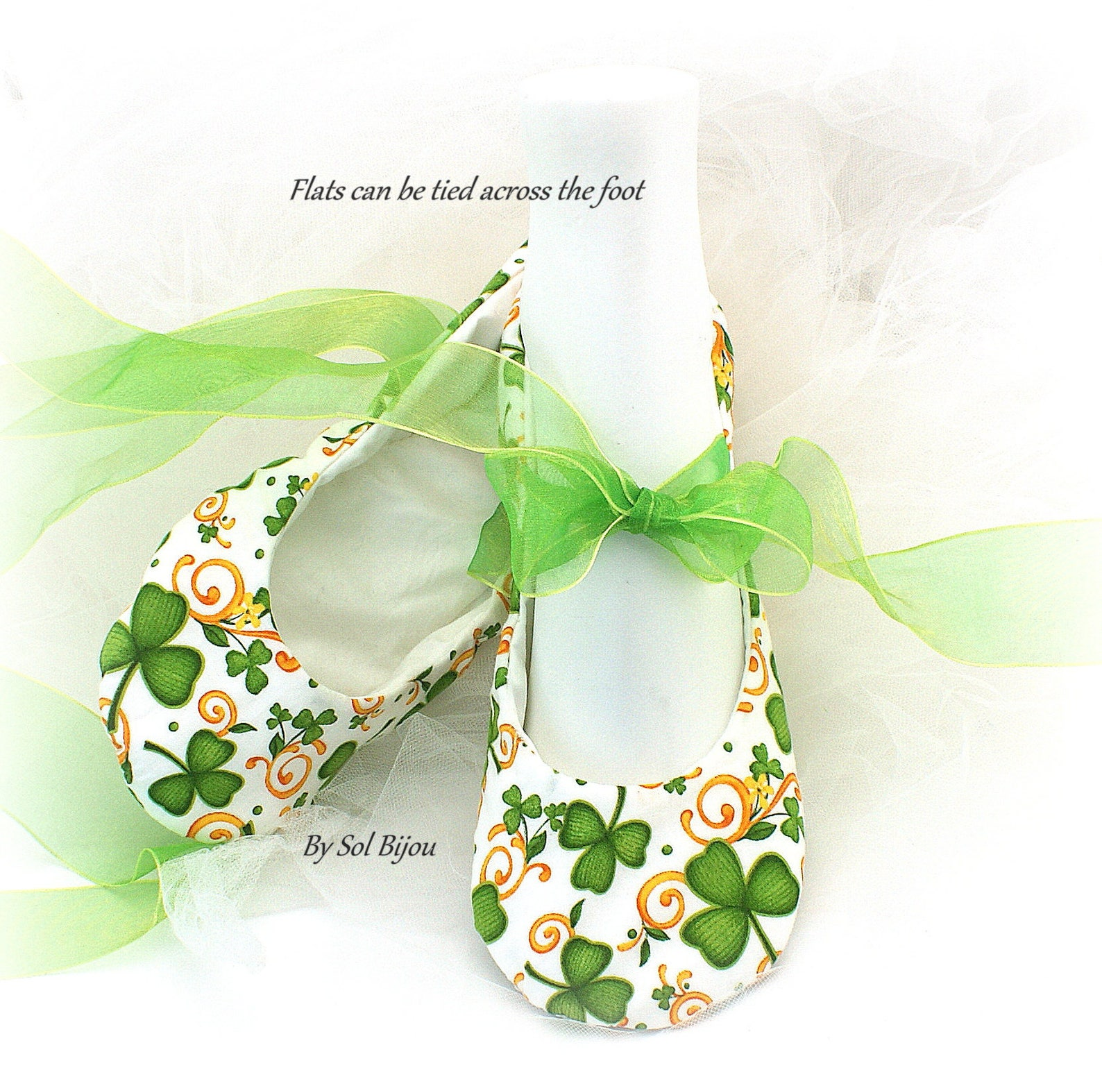 wedding ballet shoes green clover st. patrick irish theme flats with ribbons