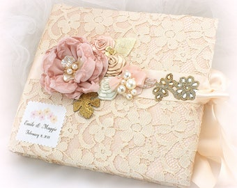 Wedding Photo Album Pink Blush Gold Personalized Photo Album Champagne Lace Photo Album Bridal Shower Gift