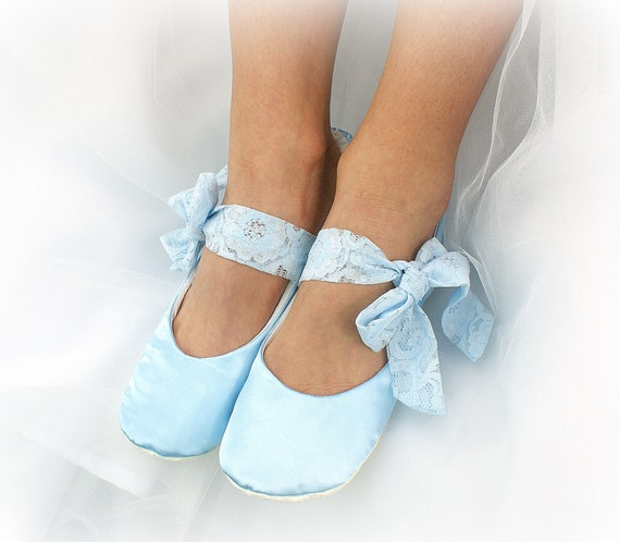 c0ad88ee04b Light Blue Wedding Ballet Flats Shoes Satin Ballet Slippers