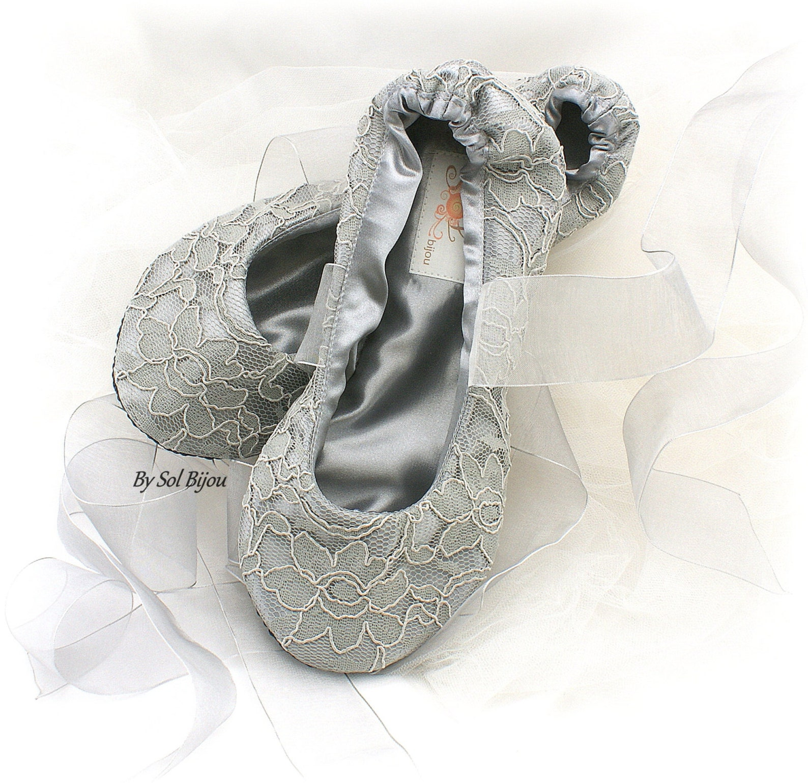 wedding ballet slippers shoes in gray silver lace elegant custom bridal ballet flats