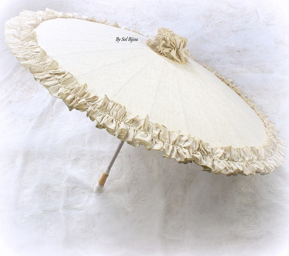 Shabby Chic Linen Wedding Parasol Ivory and Beige Vintage Style Sun Umbrella with Ruffles