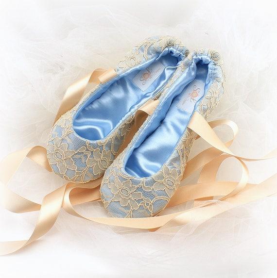 1d03e309872 Something Blue Wedding Flats Shoes Blue Ballet Flats Champagne