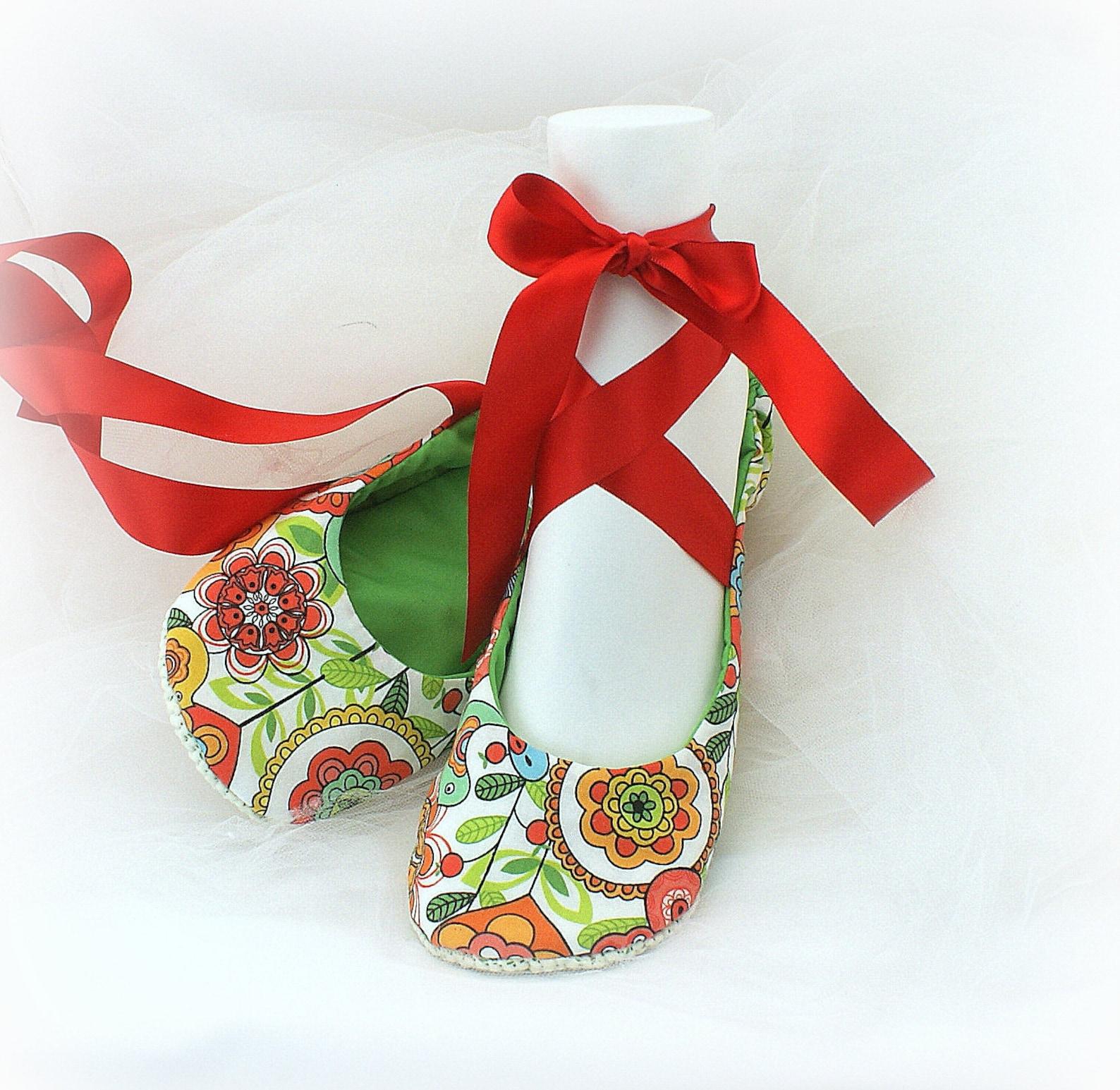floral print flats,red,green,red ballet flats,ballet slippers,custom ballet flats,garden wedding,summer wedding,flower girl flat