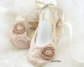 Rose Blush and Ivory Wedding Ballet Shoes with Ribbons Lace Ballet Slippers Vintage Style