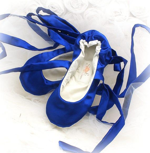 Royal Blue Satin Wedding Ballet Flats Shoes Bridal Ballet  cd16a7b3a204