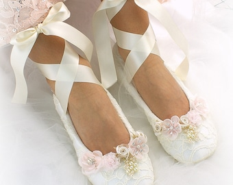 Wedding Lace Up Ballet Flats Shoes Pink Blush Ivory Lace Ballet Slippers Custom Wedding Bridal Flats with Flowers