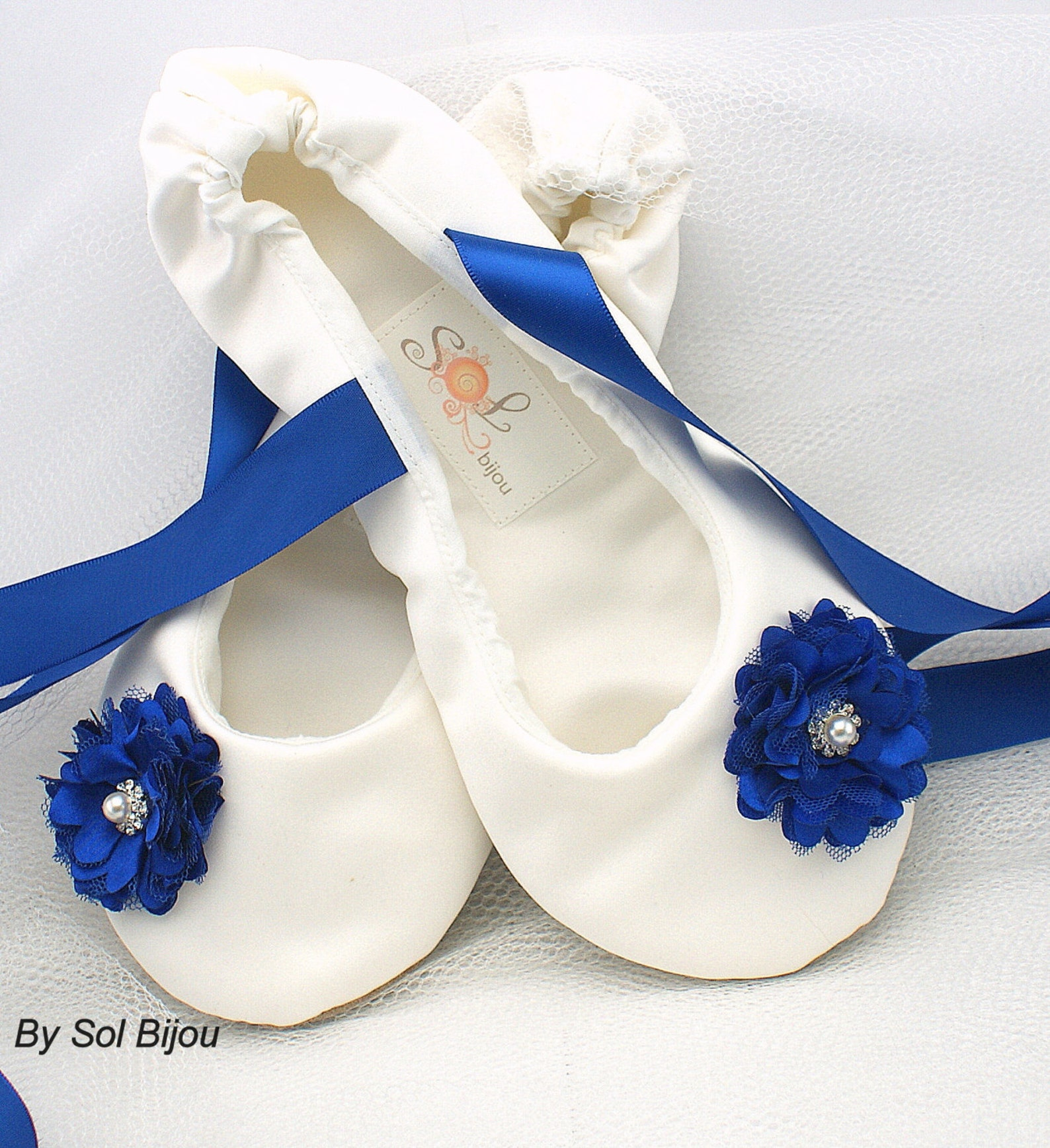 ivory and royal blue bridal satin flats, ballet flats with ties, custom wedding flats