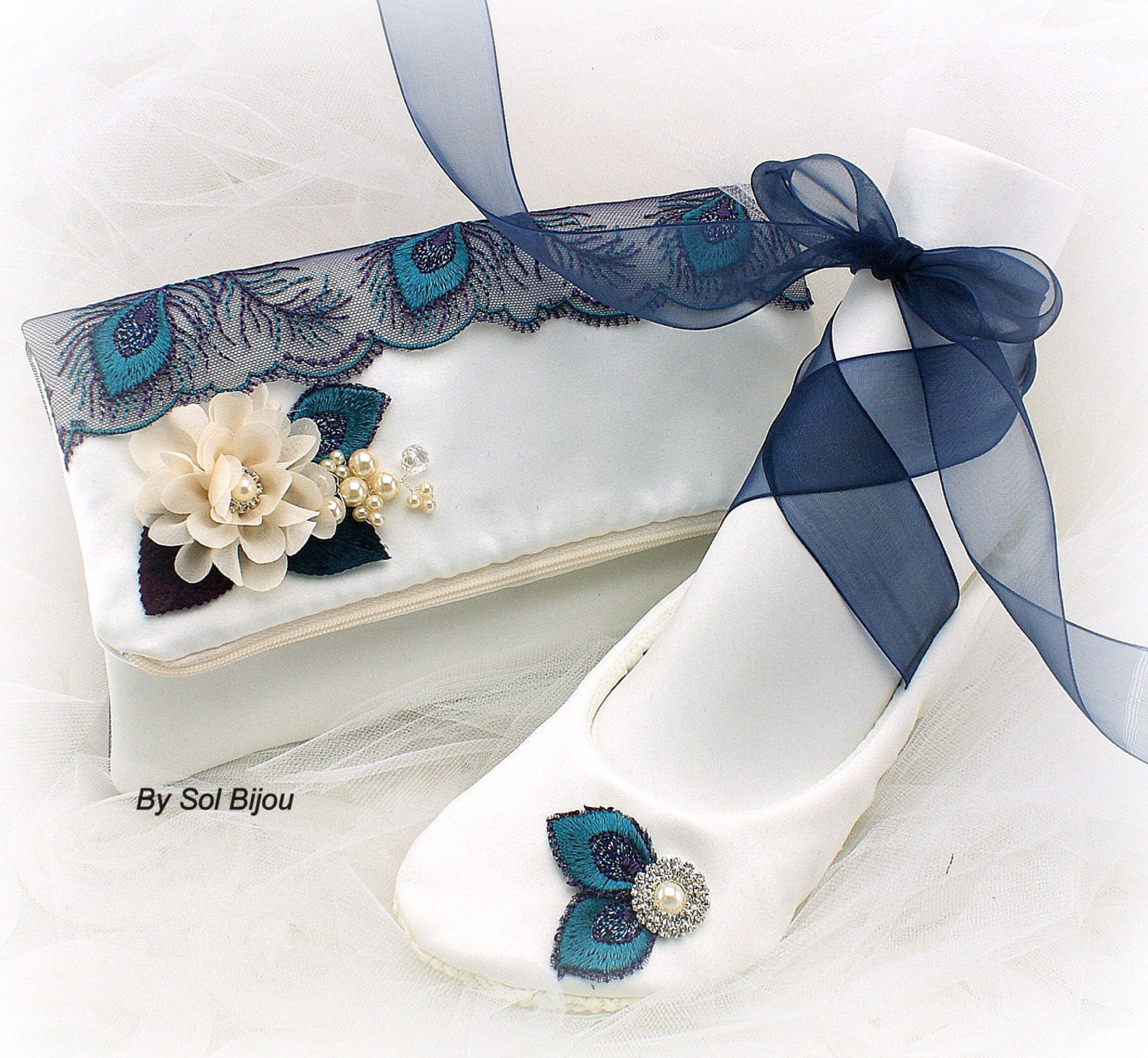 ballet flats, clutch peacock, purple, teal, navy, blue, ivory, handbag, wedding, flats, satin, pearls, crystals, elegant wedding