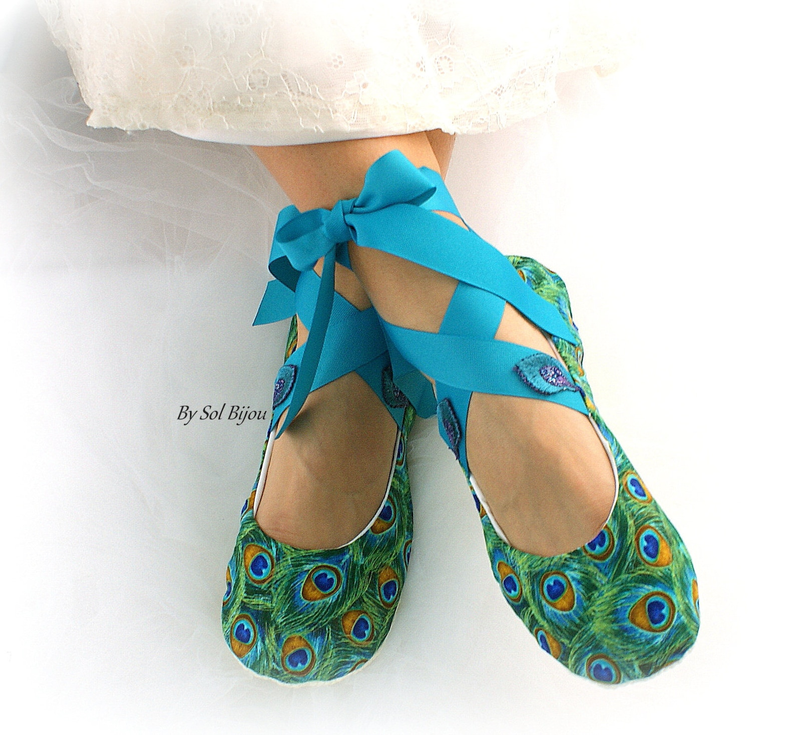 peacock custom wedding bridal ballet flats shoes cotton lace up ballet slippers peacock weddings
