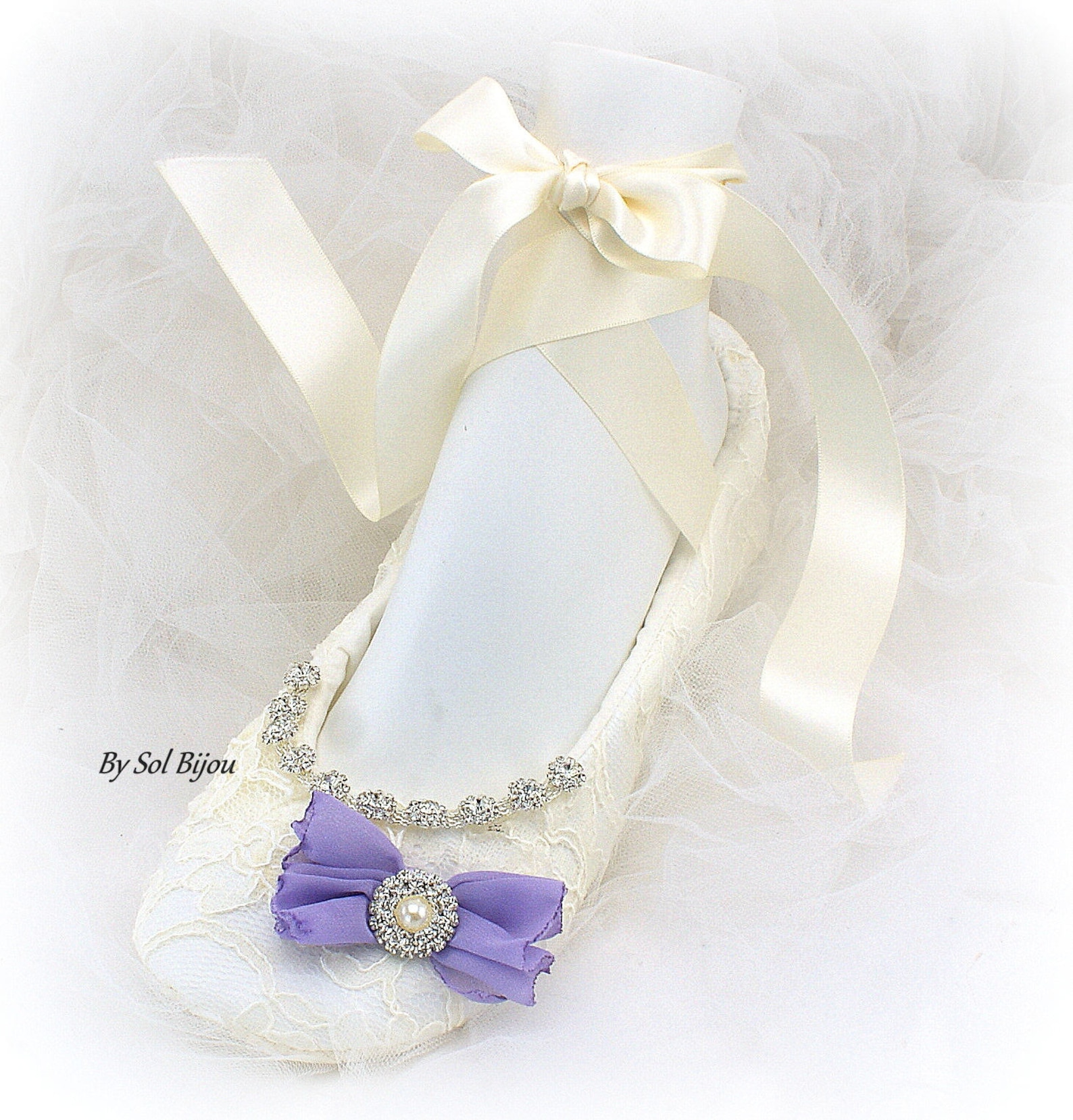 beaded ivory wedding ballet slippers with purple bows, lace bridal ballet flats in custom sizes