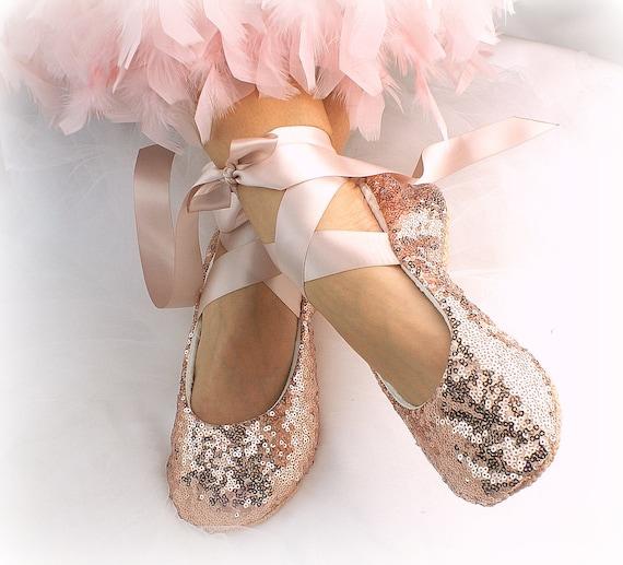 Elegant Ballet Flats Shoes Rose Gold Sequin Bridal Slippers Etsy