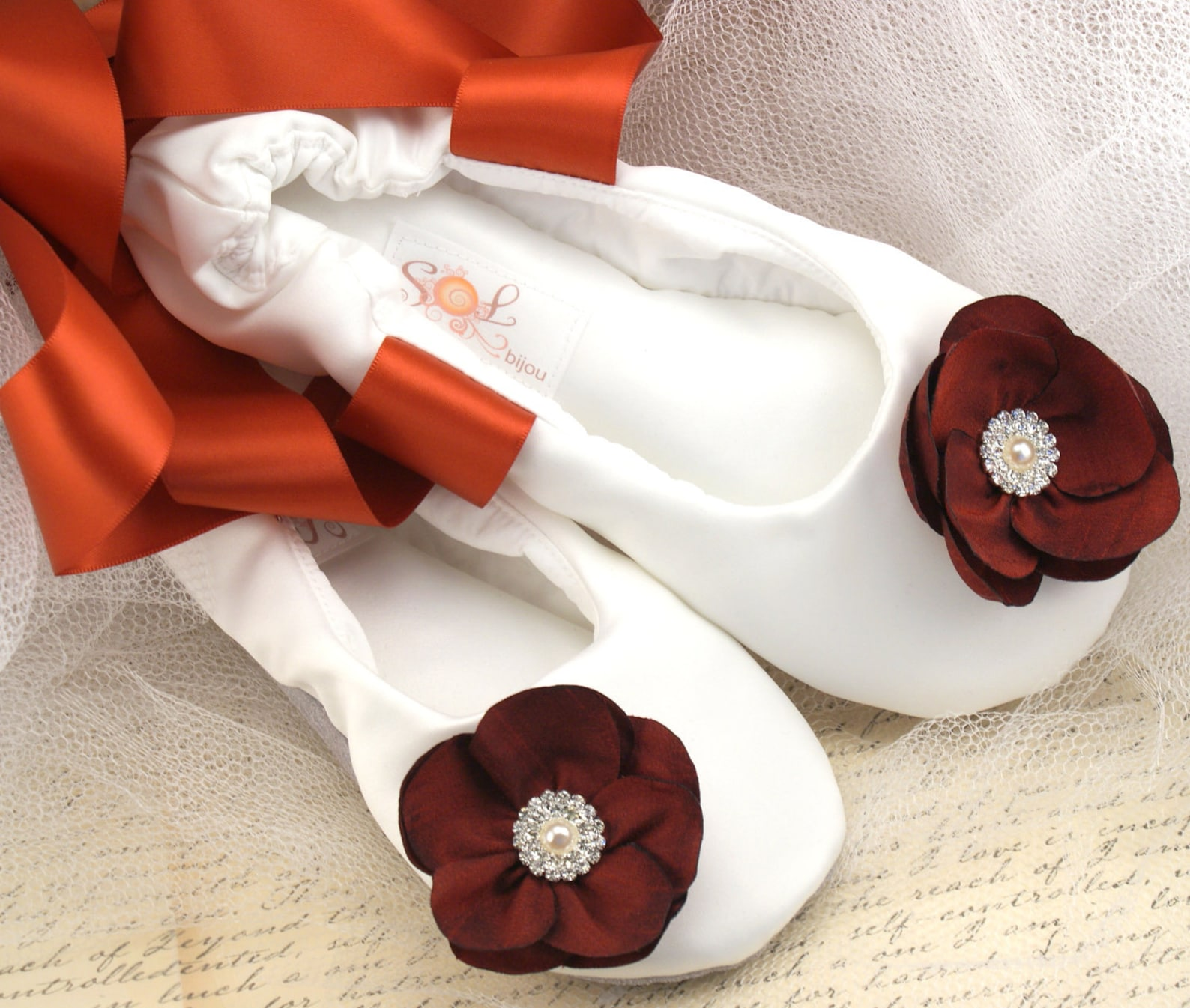 burnt orange wedding flats,ivory,burnt orange ballet flats,fall wedding shoes,bridal ballet flats,satin ballet slippers,flower g
