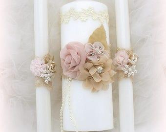 Wedding Unity Candle Set Ivory Rose Blush Champagne with Lace Vintage Elegant Style