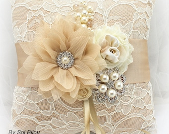 Wedding Ring Pillow Champagne Ivory Gold with Lace and Pearl Brooch Vintage Elegant Wedding