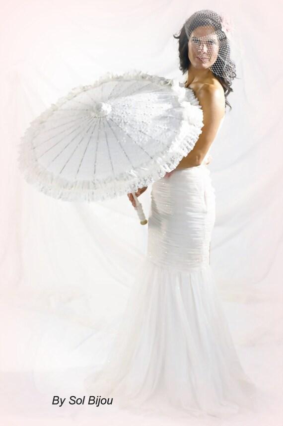 Wedding Lace Parasol Ivory Sun Umbrella Photo Prop Elegant Vintage Style