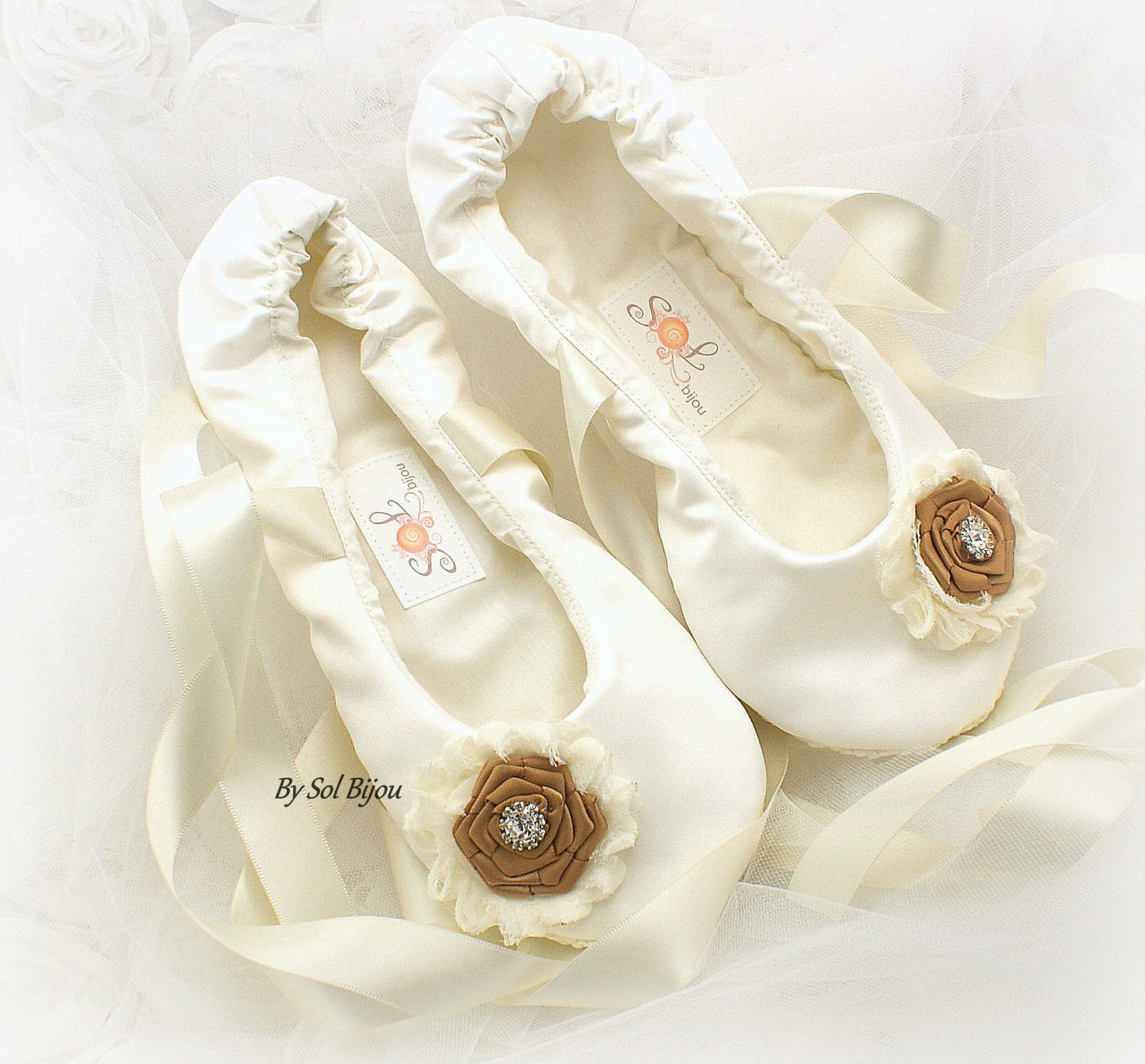 wedding bridal ballet flats ivory and gold wedding shoes with ribbon vintage style flats