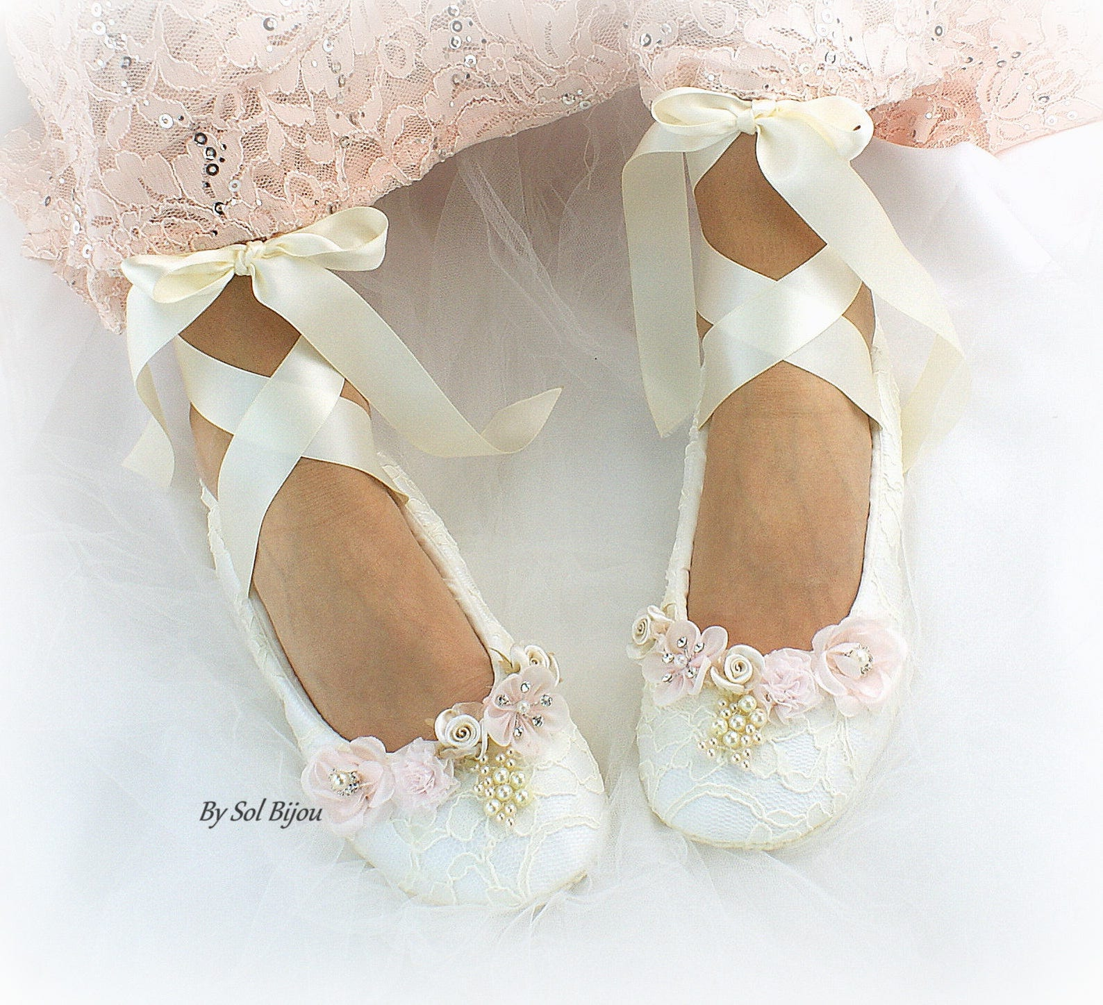 ivory lace wedding ballet shoes slippers lace up bridal ballet flats with flowers and pearls comfortable custom wedding flat sho