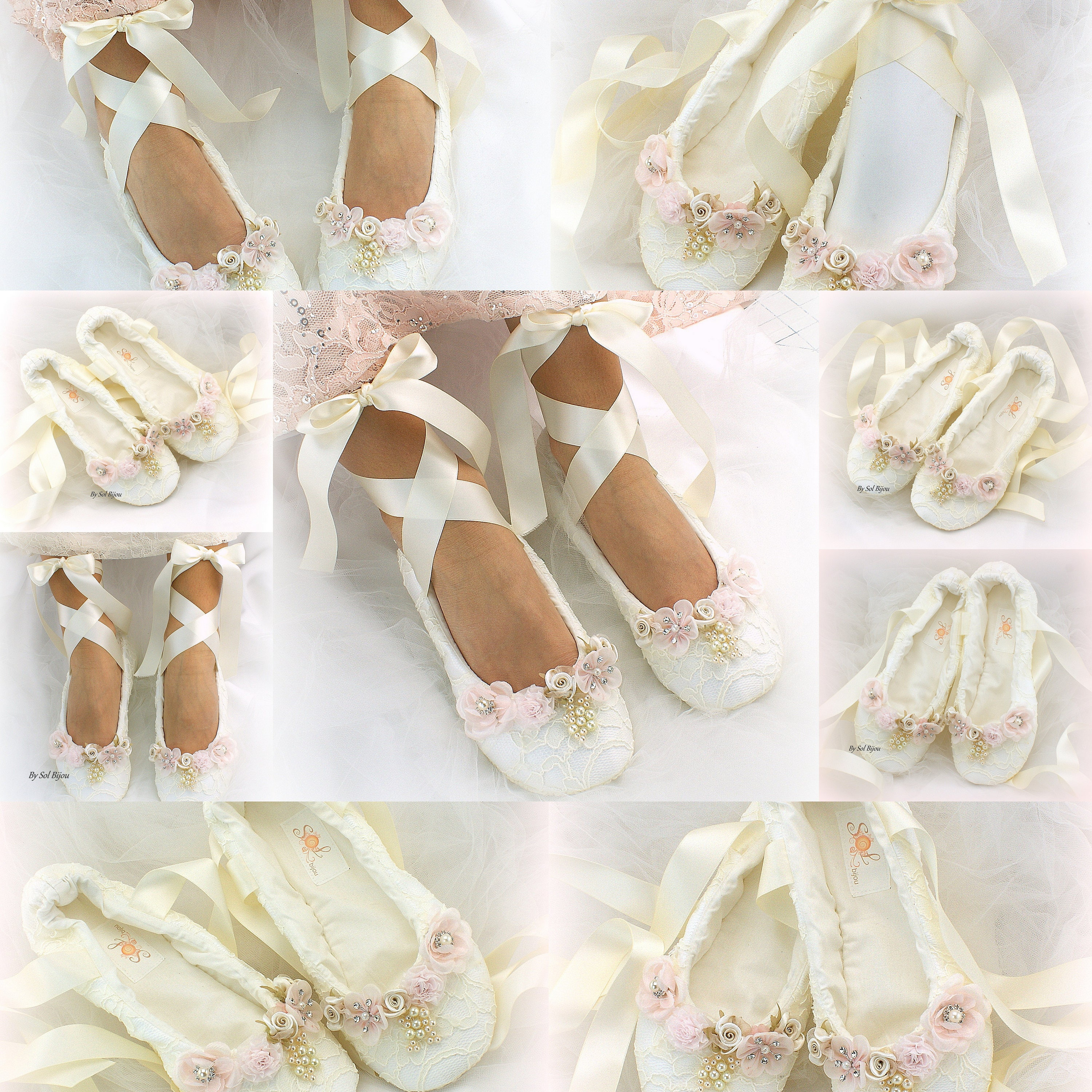a402fee8114 Ivory Lace Wedding Ballet Shoes Slippers Lace Up Bridal Ballet