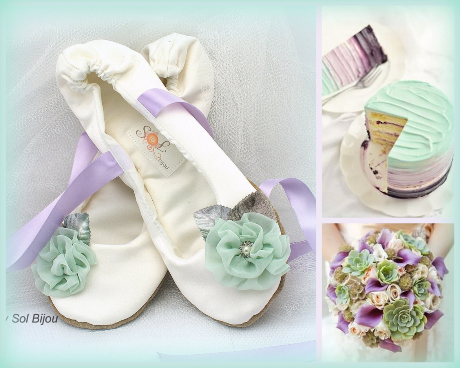 wedding ballet flats shoes ivory mint lilac with flowers and ankle ties satin bridal slippers