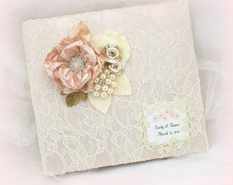 Wedding Photo Album Blush Pink Gold Personalized Vintage Style Photo Album Lace Photo Album Bridal Shower Gift Unique Photo Album