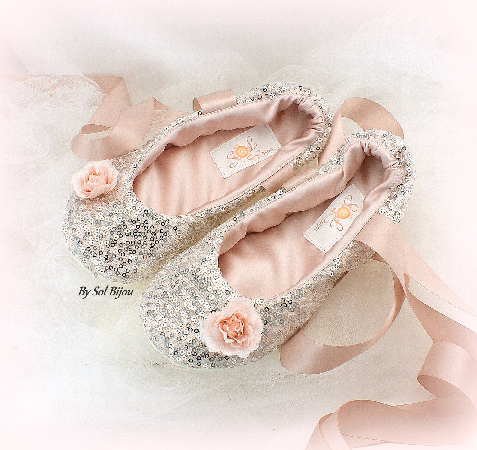 women sequin ballet shoes in silver and rose with ankle ribbons, custom wedding ballet slippers