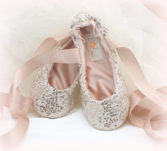 61bb2560734 Silver and Blush Pink Bridal Ballet Shoes Sequin Ballet Slippers with Ankle  Ties