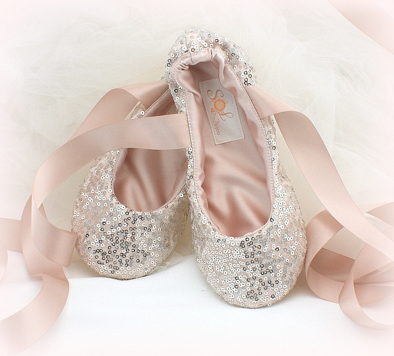 dcae52c601f6 Silver and Blush Pink Bridal Ballet Shoes Sequin Ballet