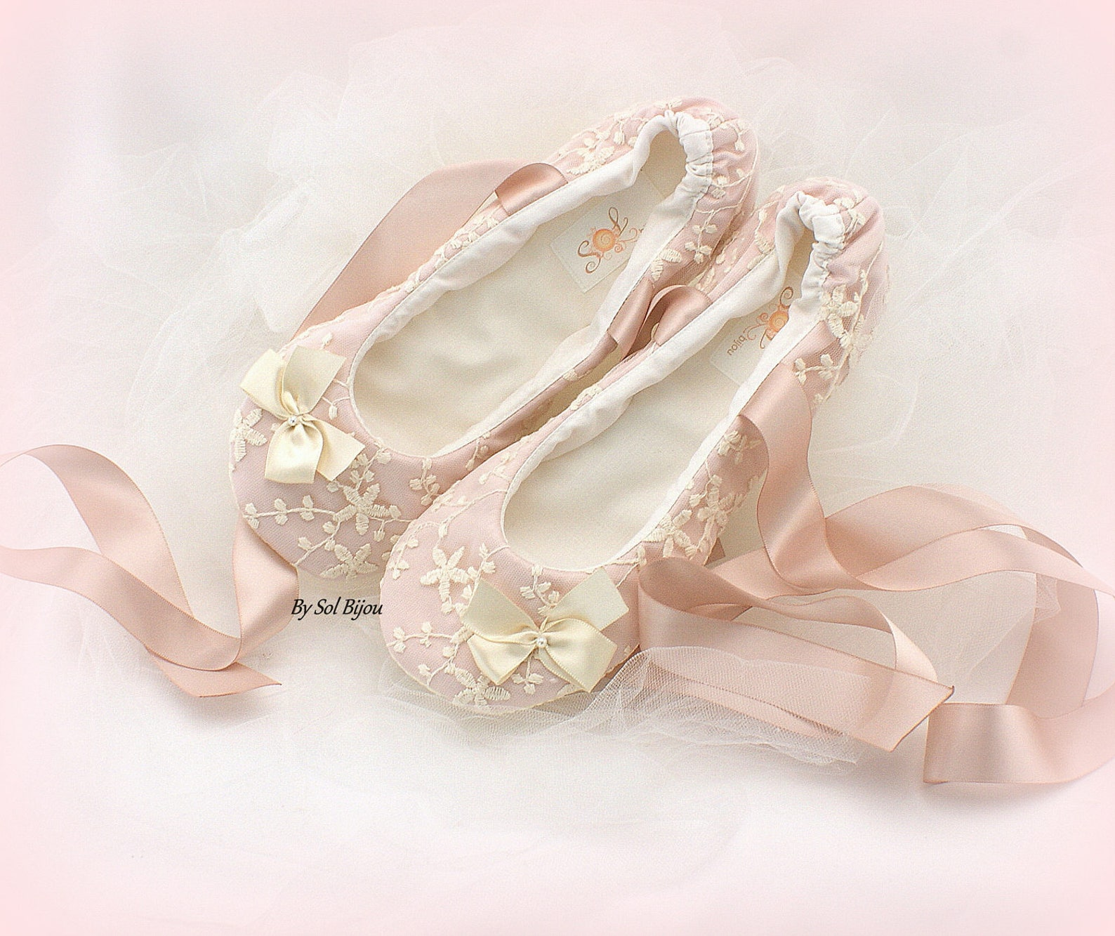 wedding ballet flats shoes with bow in blush pink lace custom ballet slippers