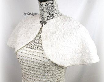 Wedding Cape in Off White Chiffon with Silver Victorian Style Clasp, Elegant Bridal Bolero Shrug