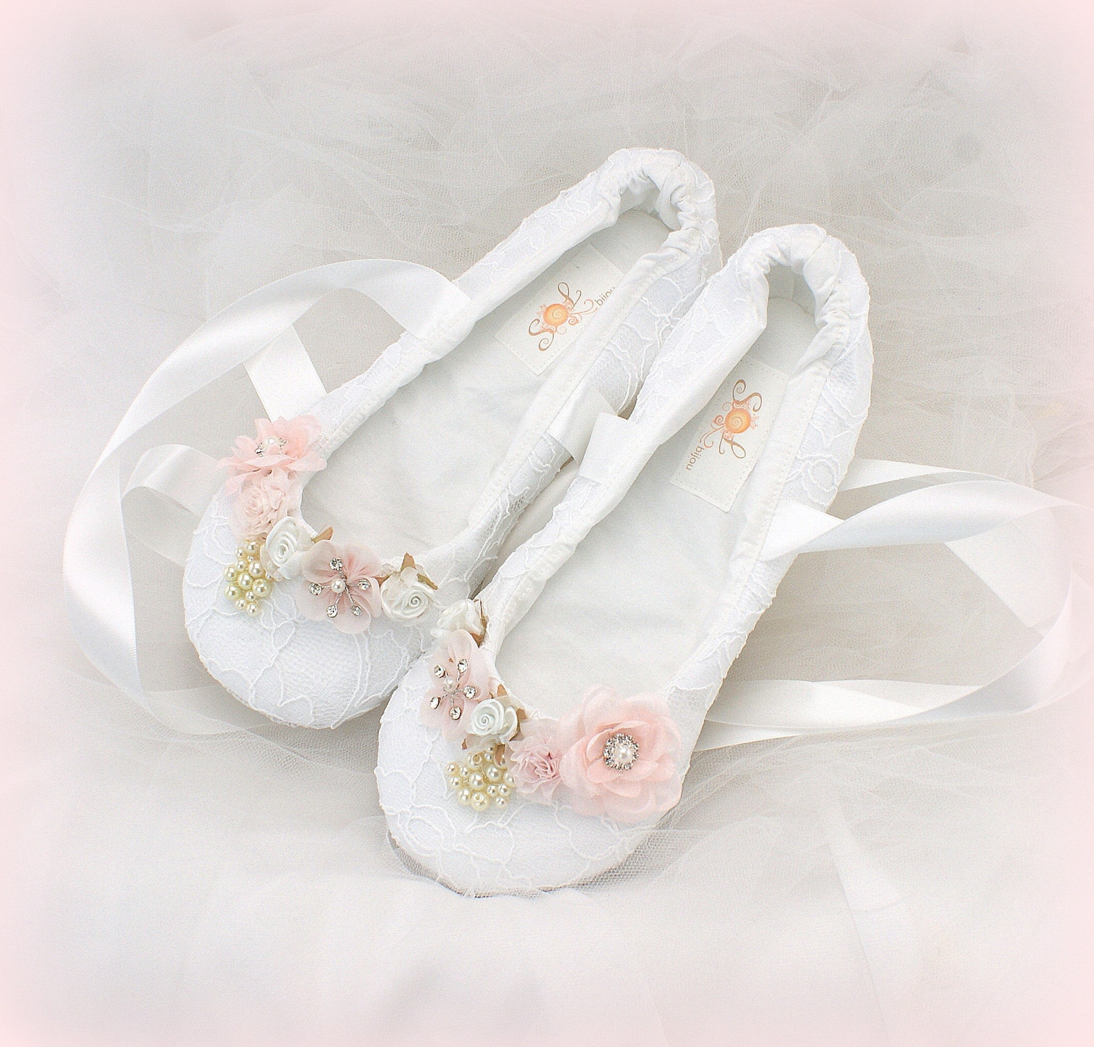white wedding ballet shoes lace ballet flats with ribbons and flowers unique