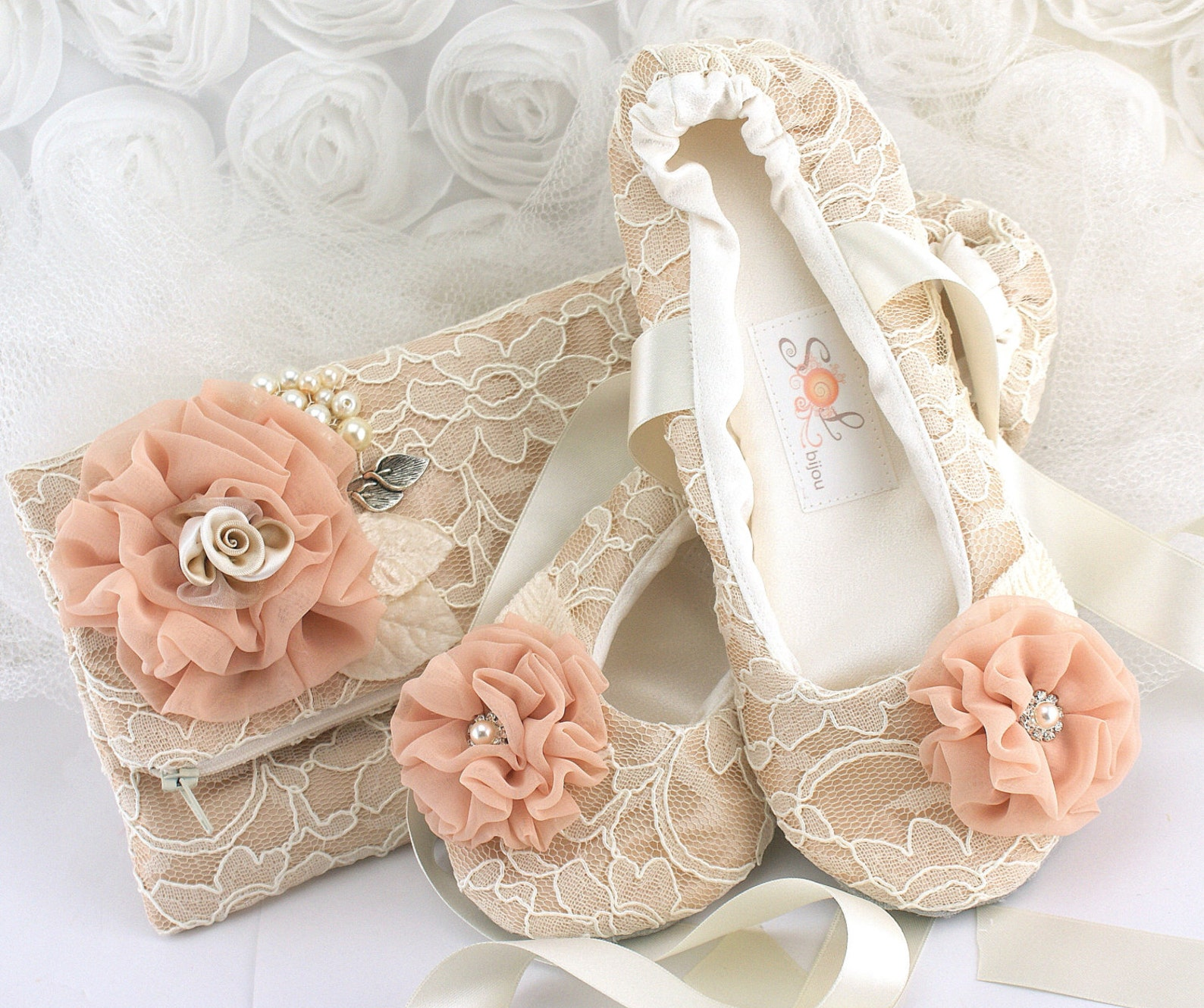 ballet flats wedding slippers in champagne lace with coral flowers