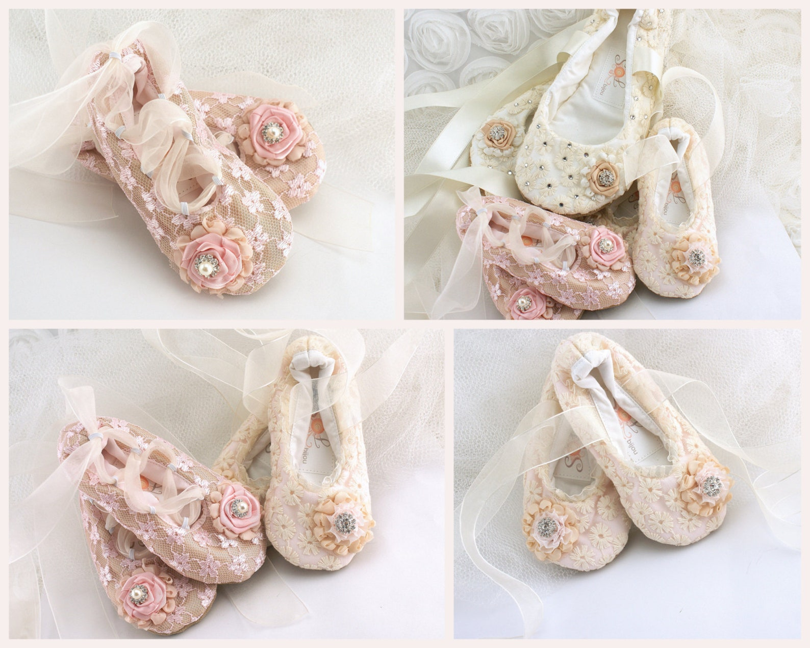 flower girl flats, ballet flats, champagne, pink, blush, elegant, vintage style, shoes, first communion, ballerina slippers, lac