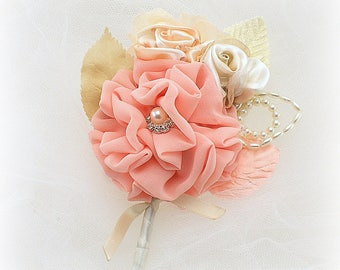 Groom Boutonniere,Coral,Ivory,Peach,Champagne,Corsage,Wedding Boutonniere,Groomsmen,Coral Bout,Button Hole,Elegant Wedding,Vintage Style