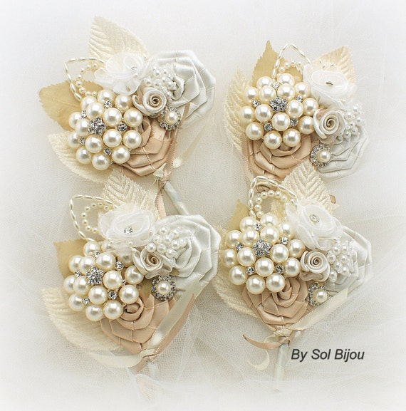 Wedding Groomsmen Boutonnieres Burgundy Champagne Rose Gold with Pearls Vintage Style Buttonholes