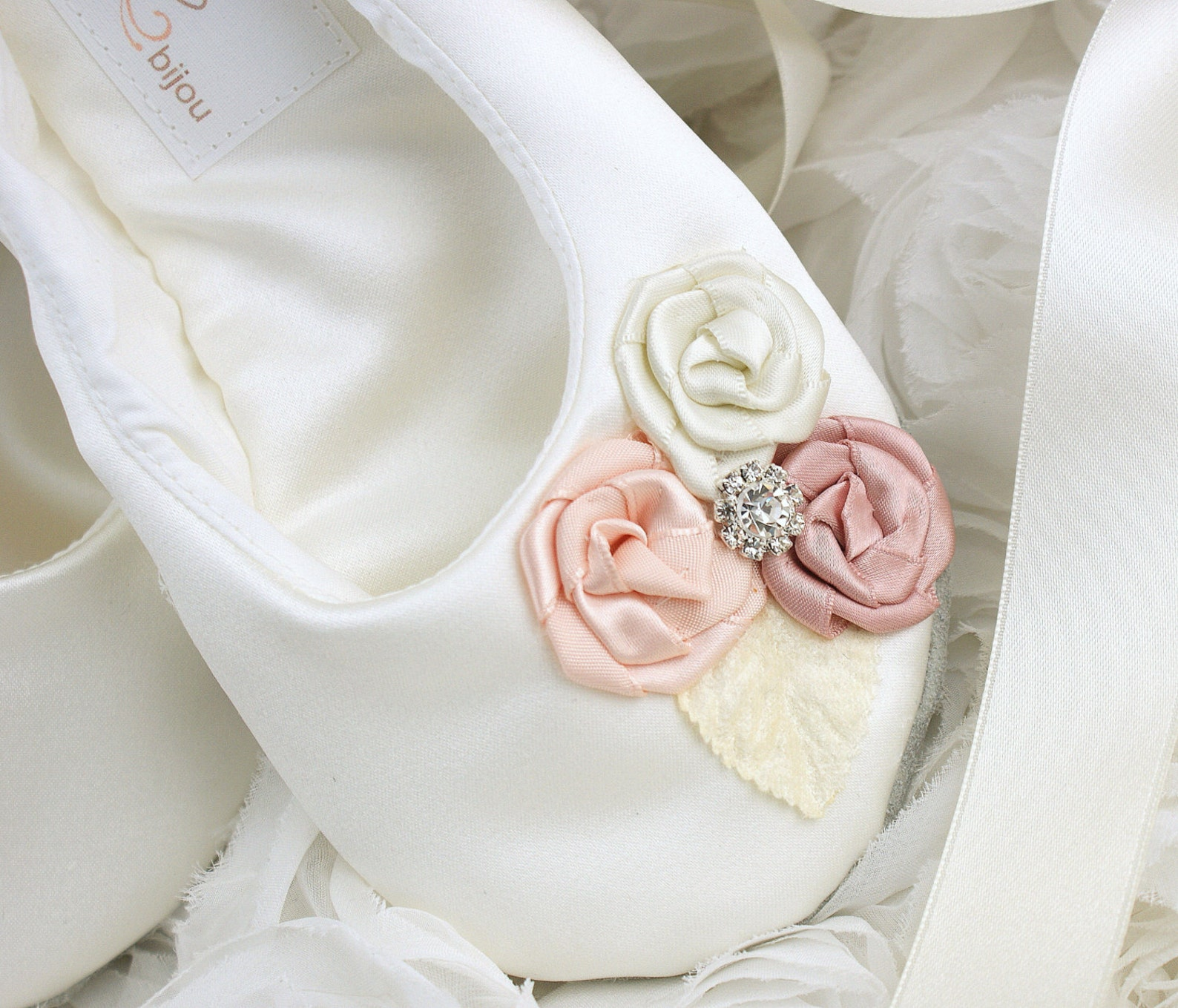 ivory ballet shoes, blush, cream, pink, wedding shoes, bridal ballet slippers shoes, satin bridal flats, flats with flowers
