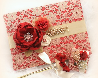 Red Gold Wedding Guest Book,Lace Guest Book,Guest Book with Pearls,Gold Wedding Pen,Bridal Guest Book with Flowers,Custom Order