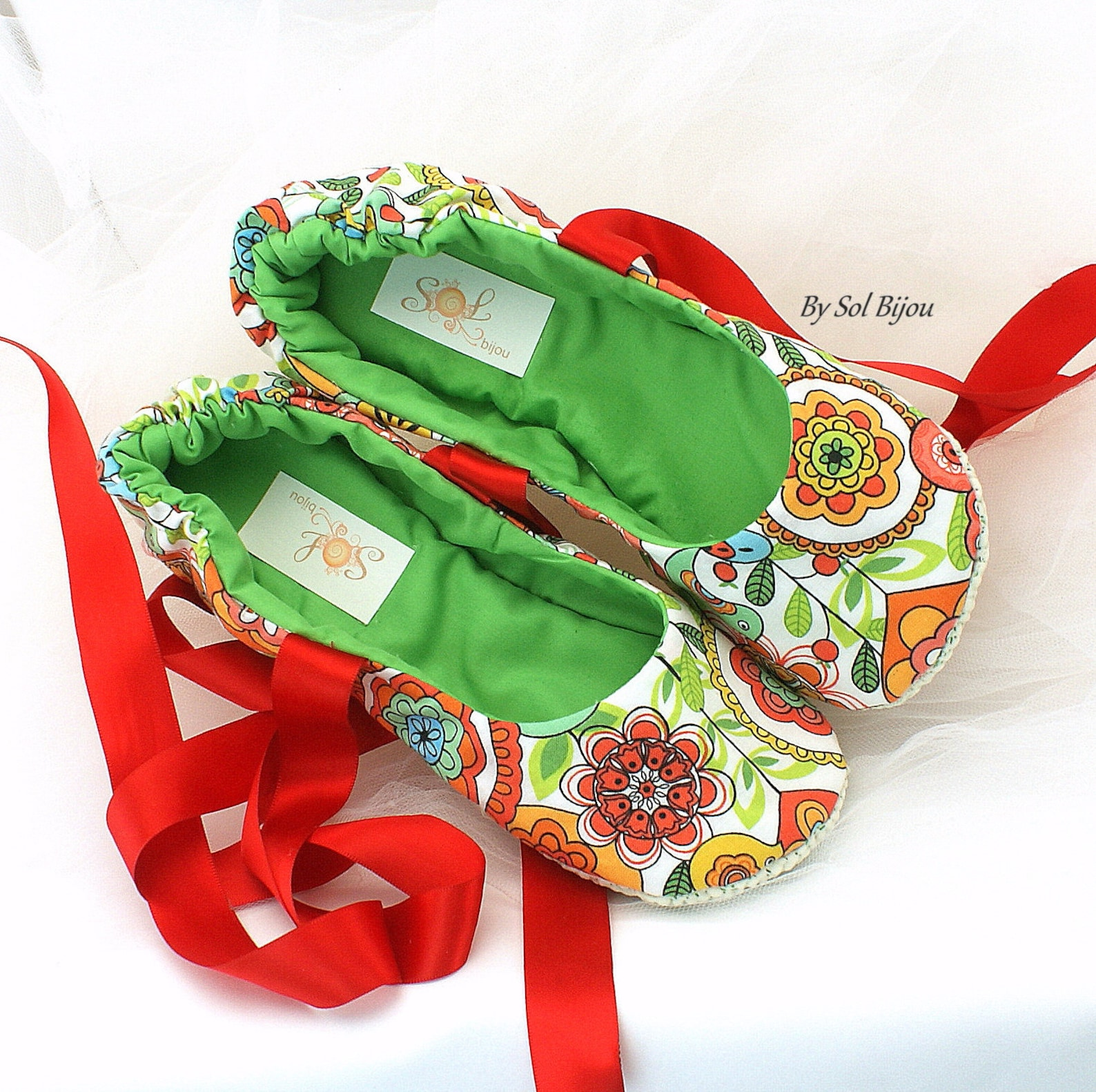 floral print flats,red,green,red ballet flats,ballet slippers,custom ballet flats,garden wedding,summer wedding,flower girl flat